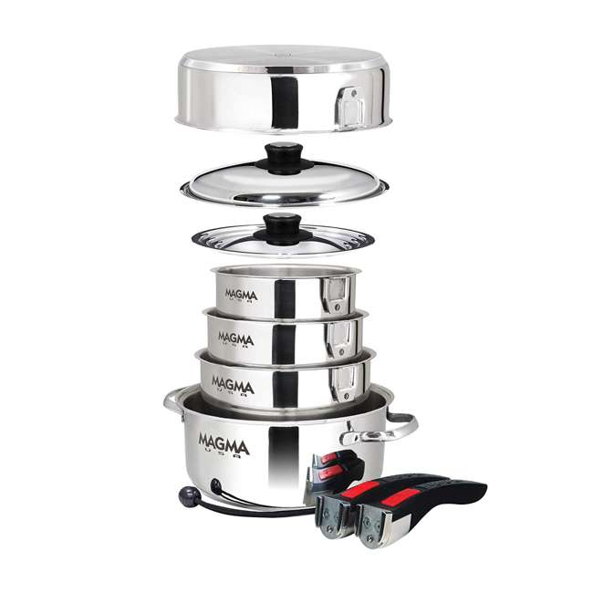 A10-360L Magma Products 10 Piece Nesting Milled Flat Stainless Steel Kitchen Cookware 1