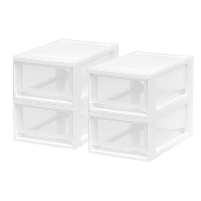 587652-4PK IRIS USA 6 Quart Small Plastic Stacking Storage Bin Drawer 4 Pack, White