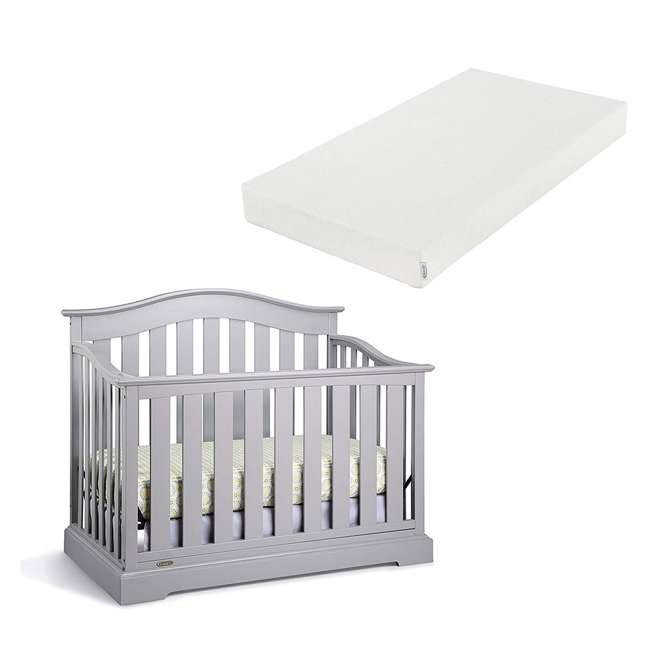 04550-04F + 06711-300 Graco Westbrook 4-in-1 Crib in Pebble Gray w/ Foam Mattress