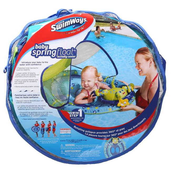 6 x 11601 SwimWays Baby Spring Float Activity Center with Sun Canopy | 11601 (6 Pack) 6