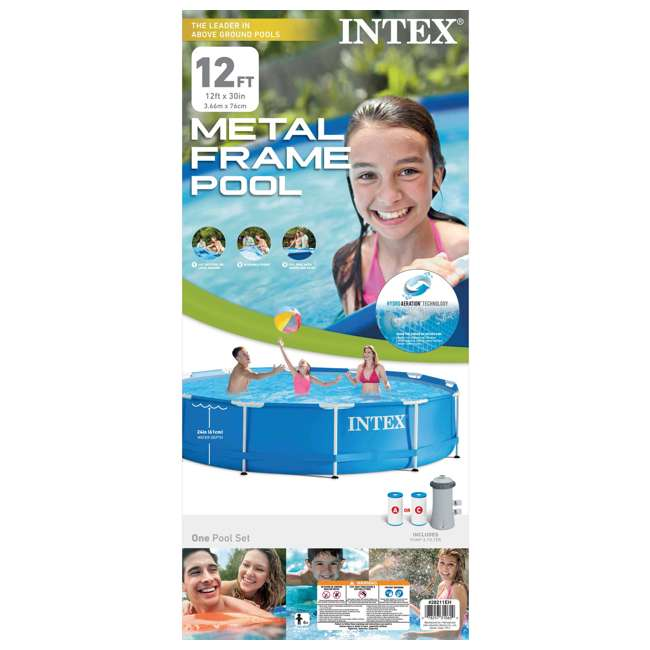 "28211EH + 12 x 29000E Intex 12' x 30"" MetalFrame Round Pool (2 Pack) & Replacement Cartridge (12 Pack) 10"