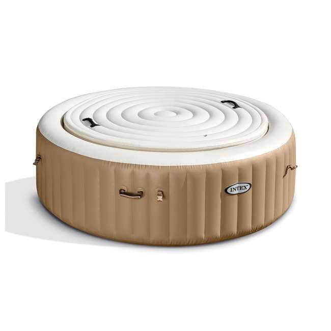 28403E + 28501E + 28523E Intex PureSpa 77 Inch 4 Person Inflatable Hot Tub Spa with Headrest & Cover 11