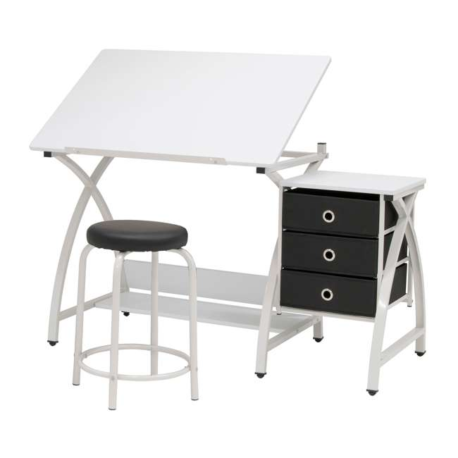 STDN-38016 SD STDN-38016 Comet 2 Piece Craft Table with Adjustable Top and Stool, White