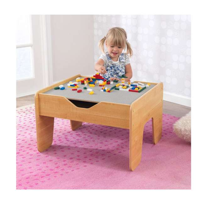 17506 KidKraft 2-in-1 Activity Play Table with Plastic Building Block Board, Natural 1