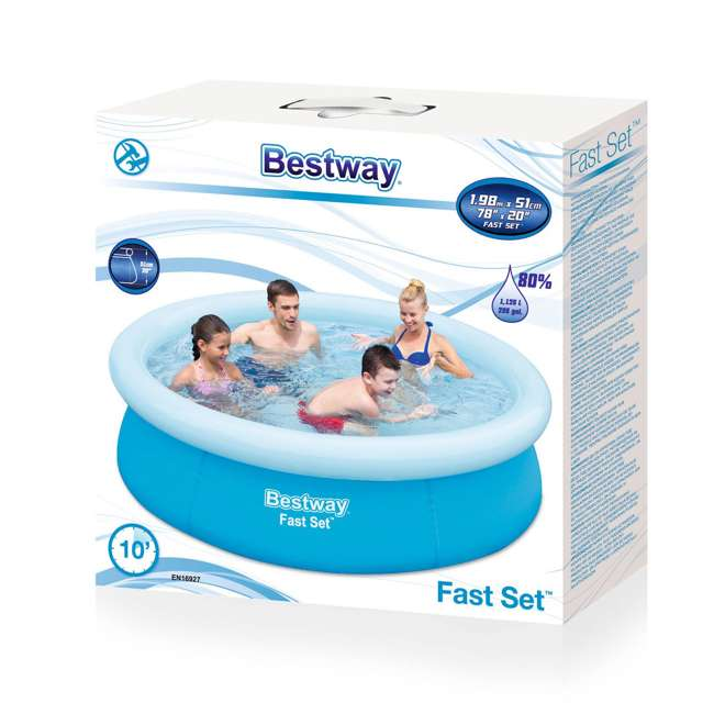"3 x 57252E-BW-U-A Bestway 6'x20"" Round Inflatable Above Ground Kids Pool, Blue (Open Box) (3 Pack) 4"