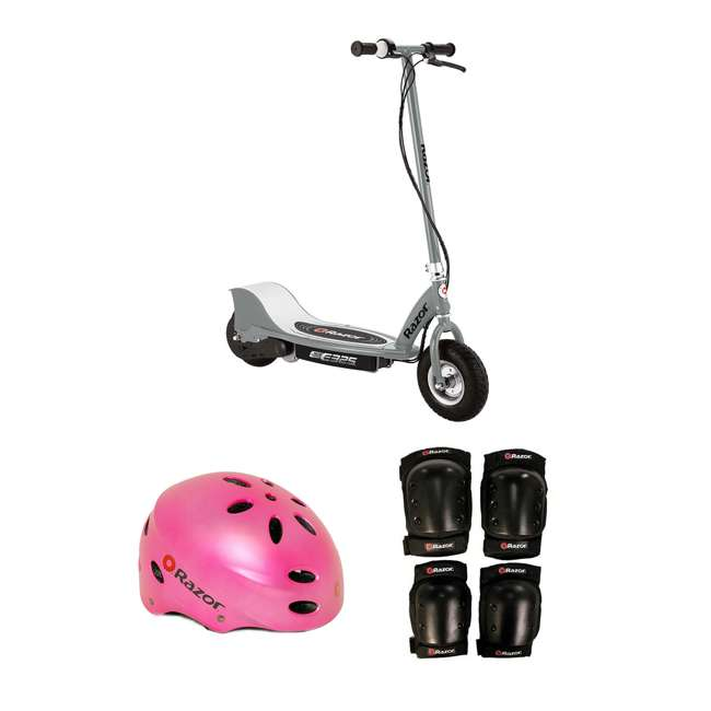 13116312 + 97783 + 96784 Razor Electric Kids Scooter, Silver + Youth Sport Helmet + Elbow & Knee Pads