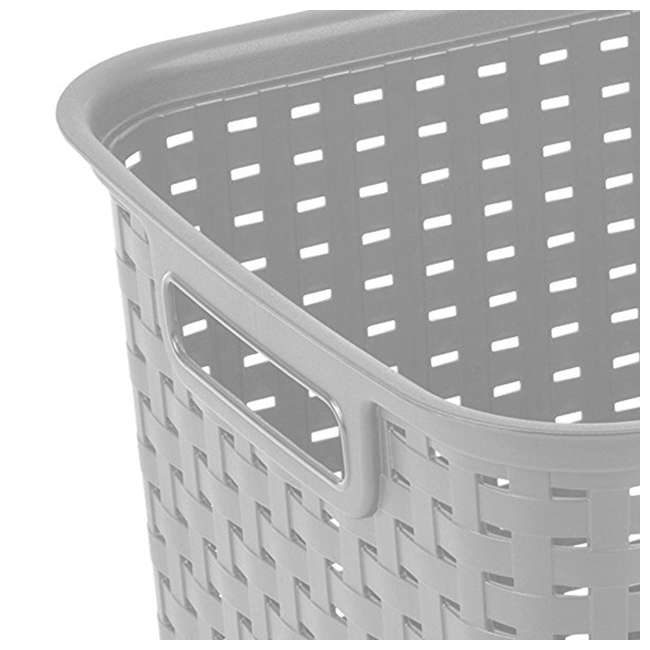 6 x 12736A06-U-A Sterilite Tall Weave Plastic Laundry Hamper Storage, Gray (Open Box) (6 Pack) 3