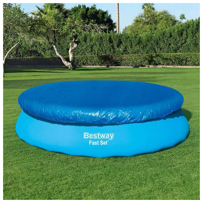 58034E-BW-U-A Bestway Flowclear Fast Set 12-Foot Round Pool Cover, Blue |  (Open Box) (2 Pack) 2
