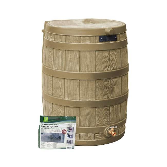 RW50-DIV-KHA Good Ideas Rain Wizard Rain Collection Barrel 50-Gallon w/ Diverter Kit, Khaki
