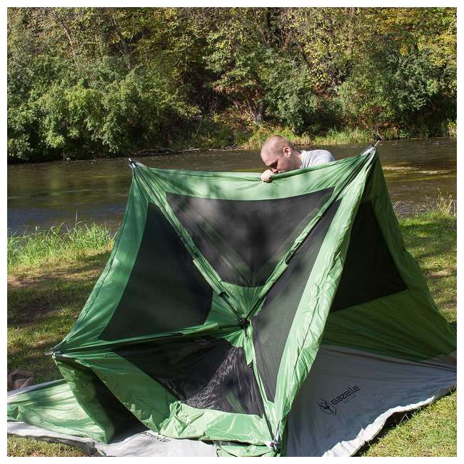 GAZL-30400-U-B Gazelle Tents T4 Pop-Up Hub 4-Person Outdoor Camping Tent, Green (Used) 4