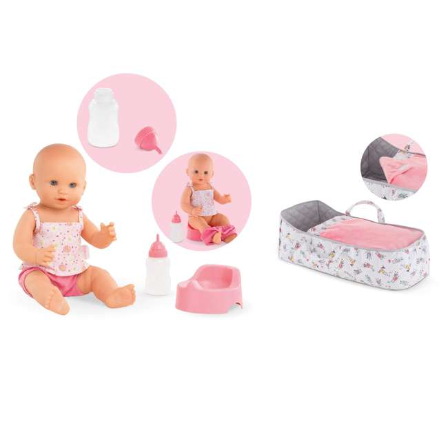 FPK23 + 140250 Corolle Mon Grand Poupon Drink & Wet Potty Training Emma Doll and Travel Bed