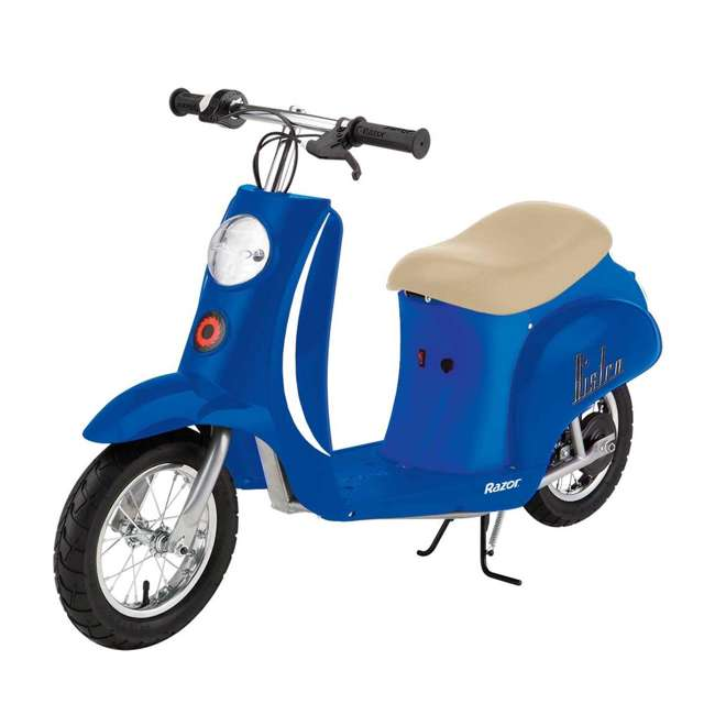 15130641 + 97780 Razor Pocket Mod Electric Motor Retro Kids Scooter, Blue & Helmet 1