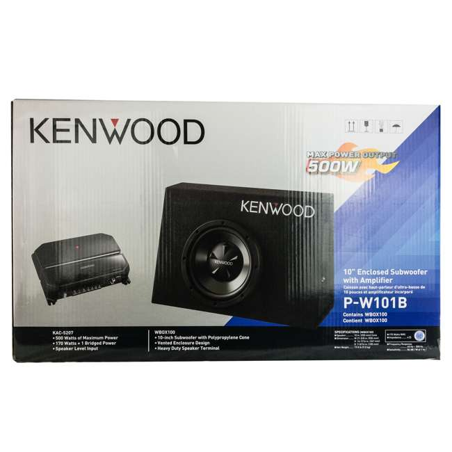 P-W101B-U-B Kenwood 10 Inch Car Loaded Vented Subwoofer & 500W Amplifier Package (Used) 5