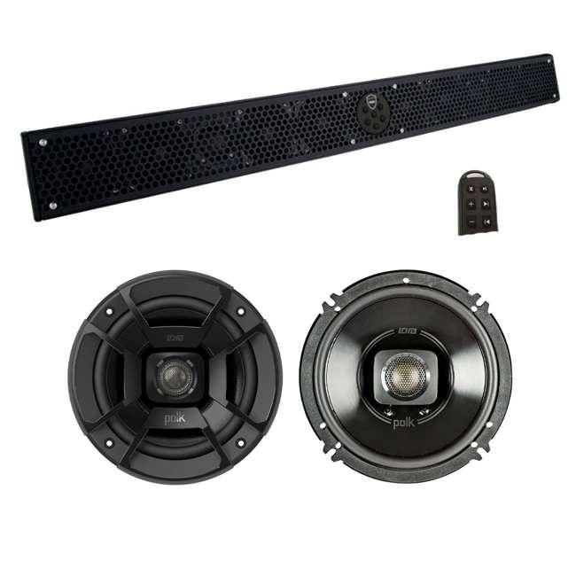 STEALTH-10-ULTRA-HD-B + DB652 Wet Sounds Stealth 10 Ultra HD 300W Marine Soundbar + Polk Audio Speakers (Pair)