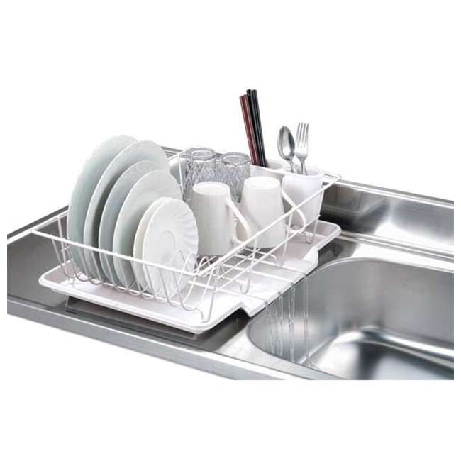 DD30234-U-A Home Basics Vinyl Coated Wire Kitchen Sink Dish Drainer Rack, White (Open Box)