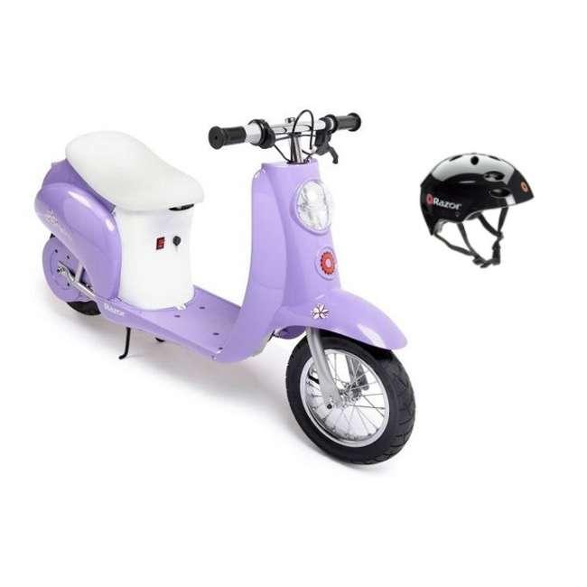 15130661 + 97778 Razor Pocket Mod Electric Powered Retro Motor Scooter & Helmet