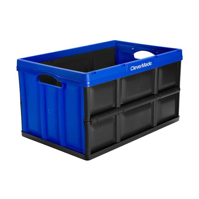 8031844-7033PK CleverMade Durable Stackable 62L Collapsible Storage Bins, Royal Blue (3-Pack) 1