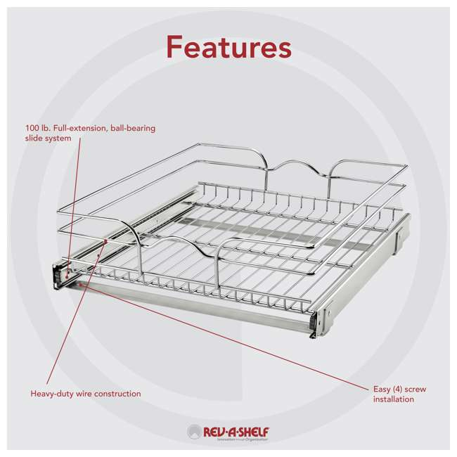 """5WB1-1822CR-1 Rev-A-Shelf 5WB1-1822CR-1 18"""" x 22"""" Single Kitchen Cabinet Pull Out Wire Basket 5"""