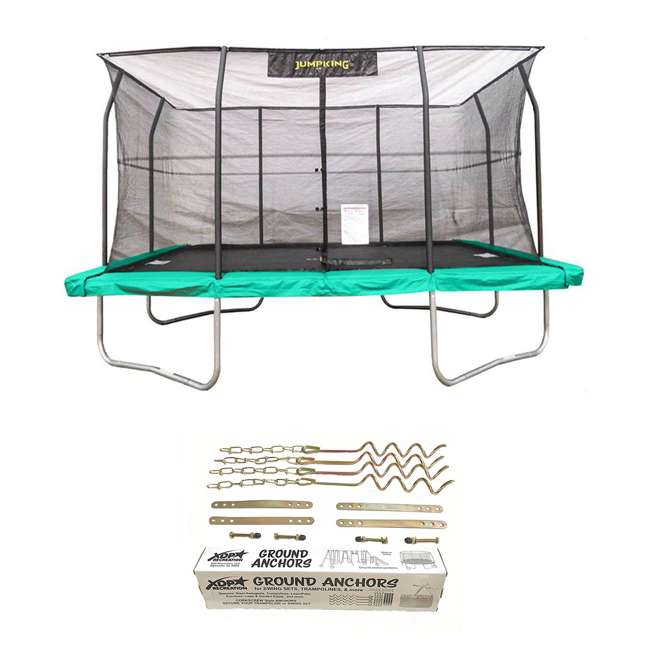 JKRC1014C2-BOX1+JKRC1014C2-BOX2+JKRC1014C2-BOX3 JumpKing Trampoline w/ Safety Net and XDP Recreation Metal Anchor Kit