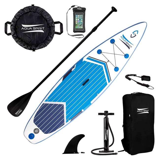 PADDLEBOARD-AQUASPIRIT-10x30x6 Aqua Spirit 10 Foot Inflatable SUP Stand Up Paddle Board Kit with Pump & Paddle