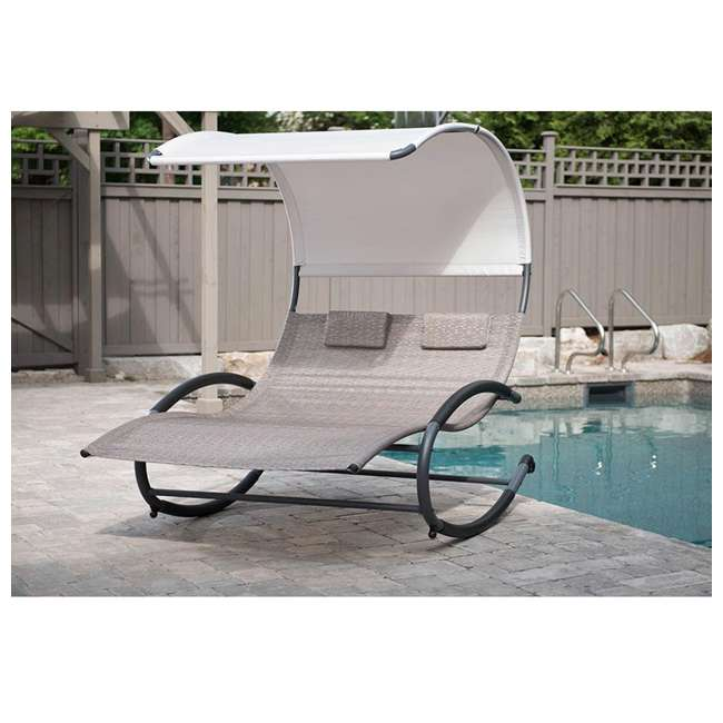 CHAISERK2-SA-U-B Vivere Double Seated Chaise Canopy Steel Rocking Patio Chair, Sienna (Used) 3