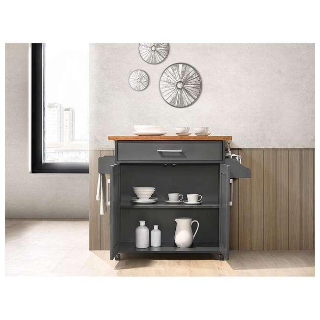 HIK78 GREY-OAK Hodedah Wheeled Kitchen Island Cart with Spice Rack and Towel Holder, Gray/Oak 4
