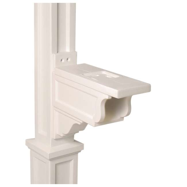 MO-5810-W Mayne Outdoor 5810 Dover Plastic Mailbox Post Pole Mount w/ Paper Holder, White 4