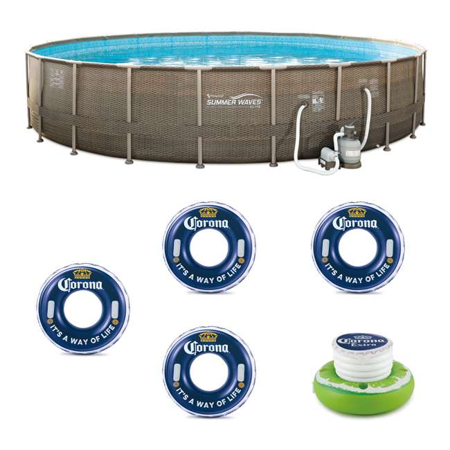 P4N024521167 + 4 x K10423D00167 + KF0226B00167 Summer Waves 24 Ft Frame Pool w/Corona Inflatable Tubes (4 Pack) w/Floating Cooler
