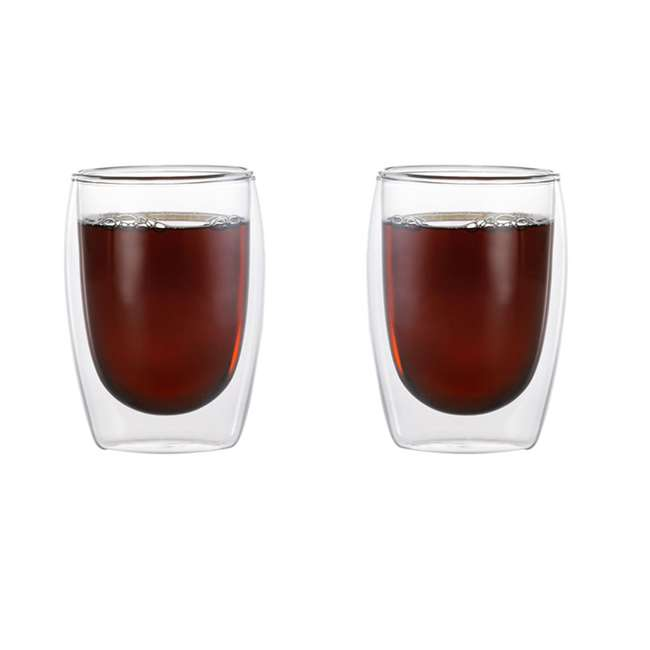 4-CUP-8OZ-2 Cafe Brew 4-CUP-8OZ-2 Double Wall Insulated 8 Ounce Heat Safe Glasses, Set of 2