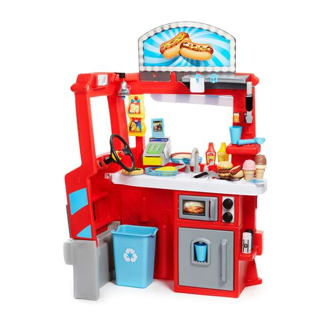 643644M Little Tikes 2-in-1 Kids Pretend Play Pop Up Ice Cream and Food Truck 2
