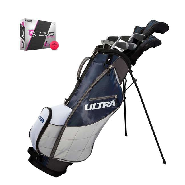 WGGC4360L + WGWP43500 Wilson Ultra Men's Left-Handed Complete Golf Club Set & Balls