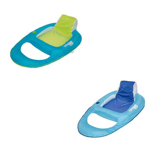 6047200-SW + 6047199-SW SwimWays Inflatable Pool Lounger w/ SwimWays Swimming Pool Recliner