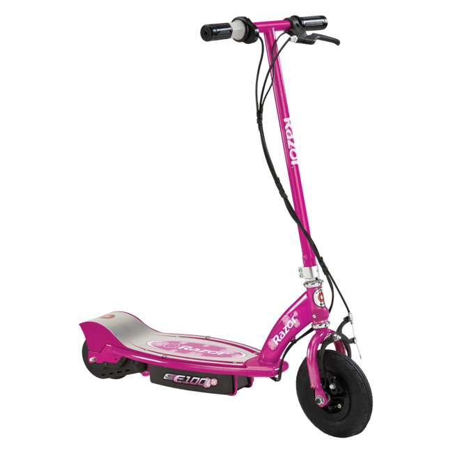 13111230 + 13111263 Razor E100 24 Volt Electric Powered Ride On Scooter, Green & Pink (2 Scooters) 5
