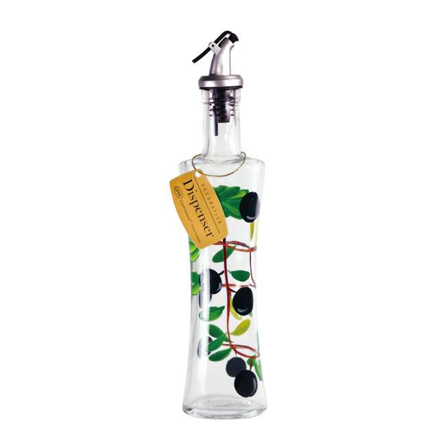 GH-39476 Grant Howard 39041 Hand Painted Olive Glass Oil Cruet Dispenser Bottle, 16 Ounce