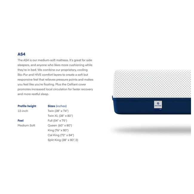 AS4-F Amerisleep AS4 Medium Softness Bio Core HIVE Foam Full Size Mattress, White 7