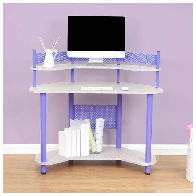 55121 Studio Designs Corner Computer Office Study Desk Workspace, Purple (Open Box) 4