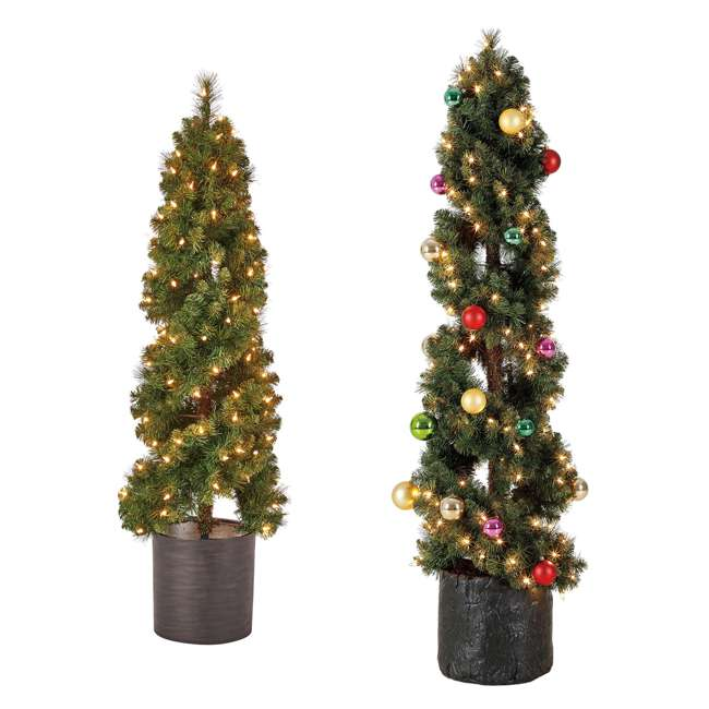 TS40M3K08C01 + TS50M3K08C01 Home Heritage 4 Foot and 5 Foot Spiral Artificial Pine Trees w/ Clear Lights