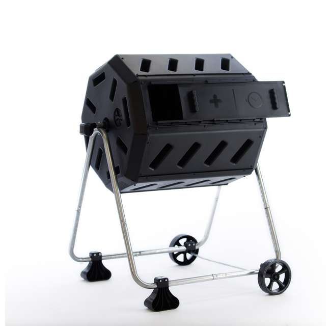 IM4000-WK FCMP Outdoor IM4000-WK 37 Gallon Dual Chamber Quick Curing Rotating Tumbling Composter Bin