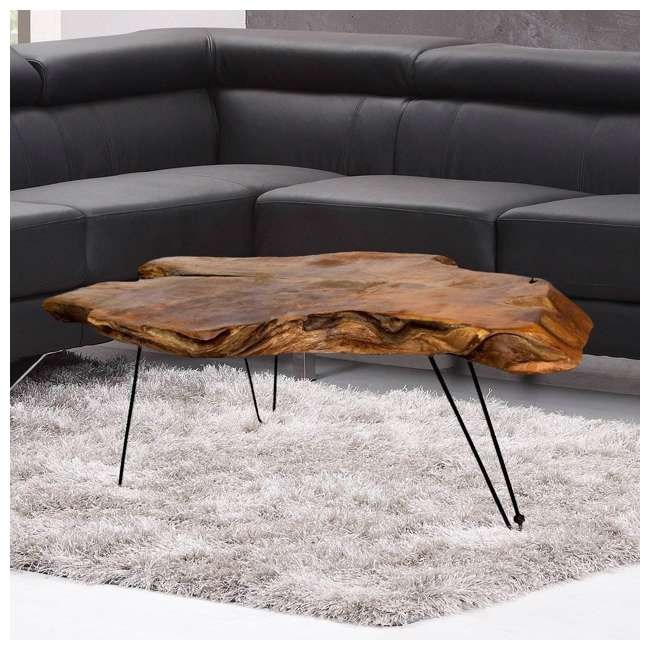 SC-IDW82658-U-D Natural Wood Edge Teak Coffee Cocktail Table with Clear Lacquer Finish (Damaged) 3