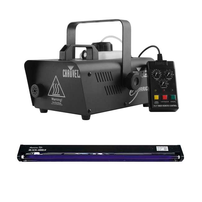 H1200 + BLACK-48BLB CHAUVET DJ Hurricane 1200 1.0L Pro Fog Smoke Machine + 48 Inch UV Black Light