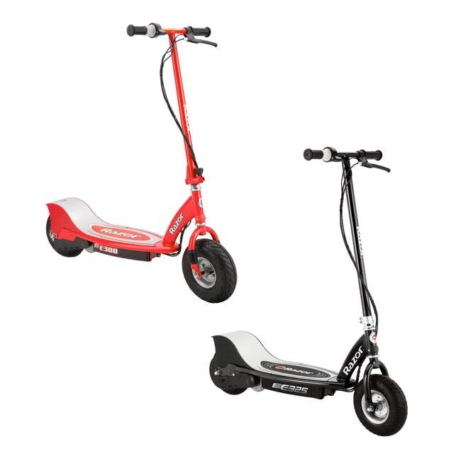 13116397 + 13113697 Razor Electric Motorized Scooters, 1 Black & 1 Red