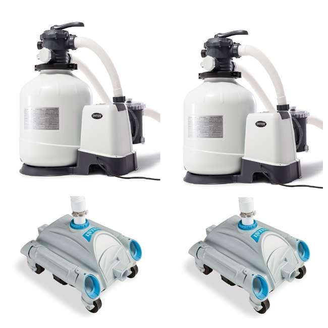 26651EG + 2 x 28001E Intex 3000 GPH Above Ground Pool Sand Filter Pump & Intex Pool vacuum Cleaner