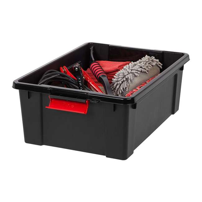 586526-4PK IRIS USA 10 Gallon Hard Plastic Store It All Tote Storage Box, Black (4 Pack) 3