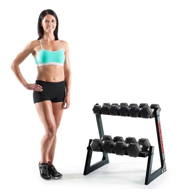 WDBKR20017-U-A Weider Fitness 200 Pound Weights Hand Grip Rubber Hex Dumbbell Set (Open Box) 1