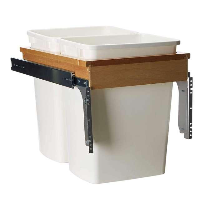 4WCTM-18DM2-U-A Rev A Shelf 35 Quart Pull Out Sliding Double Waste Trash Bin (Open Box) (2 Pack)