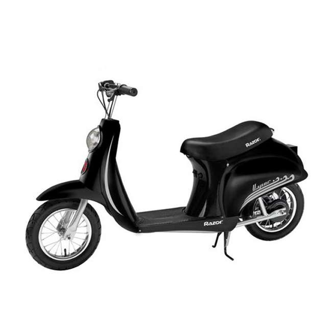 15130601 + 2 x 97778 Razor Pocket Mod Electric Retro Scooter, Black (2 Pack) + Helmets 2
