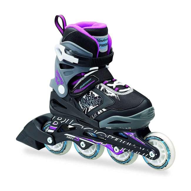 0T612300N41-11-1 Rollerblade Bladerunner Phoenix Girls Adjustable Skates, 11 thru 1, Black/Purple