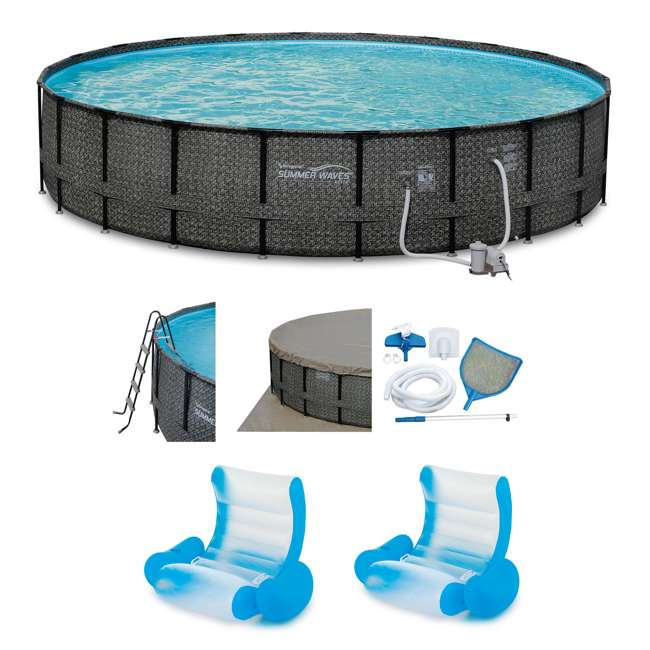 "P4A02252B167 + 2 x K71071000167 Summer Waves 22' x 52"" Frame Pool Set w/Inflatable Lounge (2 Pack)"