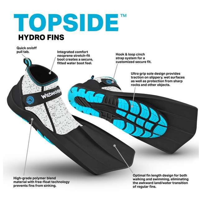 TS-PA-M11 Wildhorn Topside Men's 11 Hydro Snorkel Fins Swim Water Flippers, Pearl Aqua (2 Pack) 5