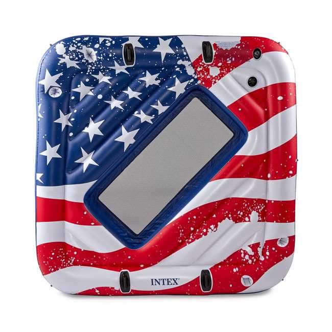 "4 x 57264VM-U-A Intex American Flag 81"" Party Island Lake Raft Pool Float (Open Box) (4 Pack) 3"